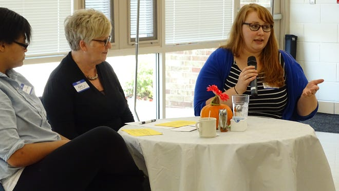 Former Sandusky County Positive People scholarship winners Kelsey Randolph, right, and Cierra Parker, left, join Kay Reiter, Sandusky County Positive People Vice President to discuss their experience with college and staying close to community members.