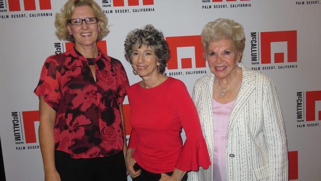 Left to right:  Kajsa Thuresson-Frary, McCallum Theatre Director of Education; Lois Greenfield, Lifetime Achievement Award winner; and patron Joanne Davis.