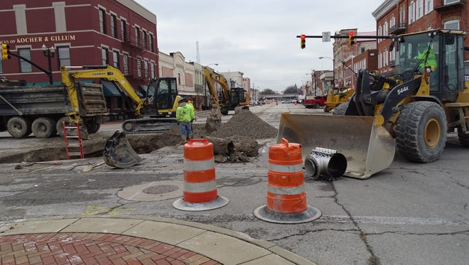 The intersection of Madison and Perry Street is closed in Port Clinton for a water and sewer line separation project.