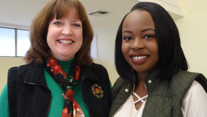 P.E.O. Chapter AE member Nannette White and scholarship recipient Lakeysha Bullock