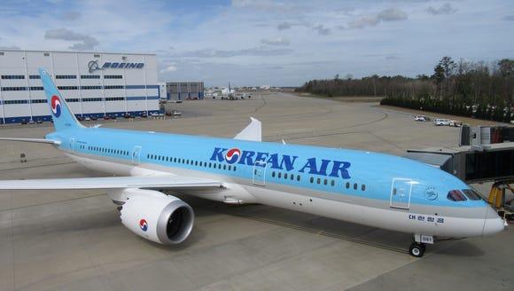 Korean Air's first Boeing 787-9 Dreamliner is seen