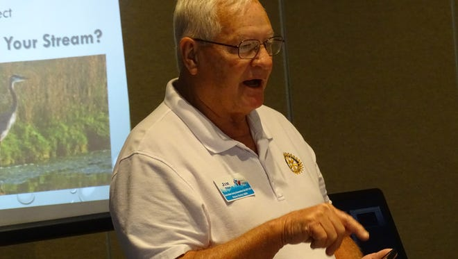 Jim Page, of Rotary District 6600, discusses findings from his team that has been testing water in the western basin of Lake Erie.