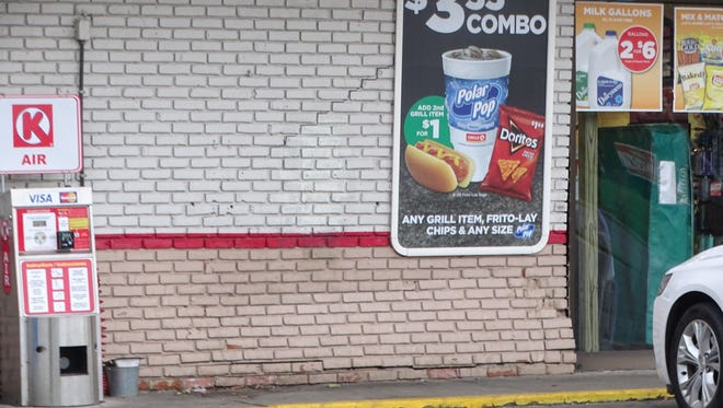 Damage caused to concrete bricks when an SUV hit the wall at a Circle K store, 1022 E. State St.