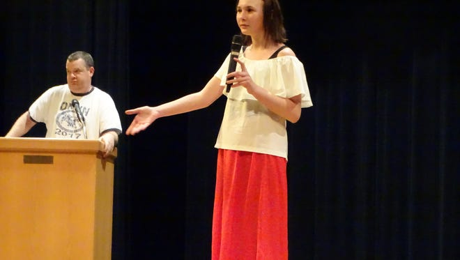 Maizie Meyer, 14, of McPherson Middle School thanks parents for coming to the Model UN presentation at the Clyde High School Auditorium. Meyer and 23 other McPherson students will be going to the Ohio Jr. Model UN  2018 March 11-13 in Columbus.