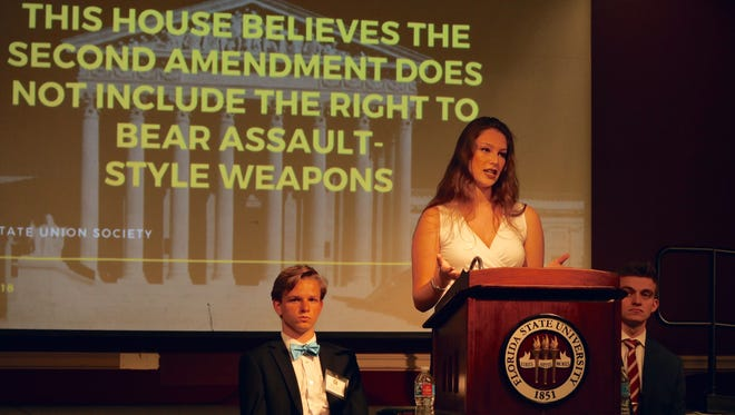 Kathryn Casello, the Political Affairs Director for the Campaign to Keep Guns Off Campus, speaks out against assault-style weapons.