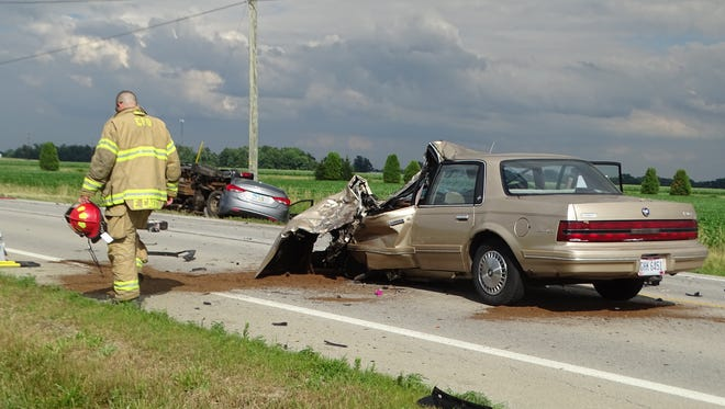 A three-car crash injured two people Tuesday on U.S. 6 near the Ohio Turnpike.