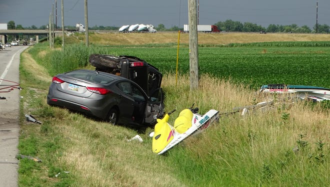 Two vehicles involved in a three-car crash on U.S. 6 were launched into a nearby ditch during a 2018 crash.