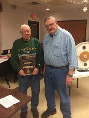 The Merrill Lions Club awarded a Melvin Jones Fellowship to Dick Plautz, pictured at left, with Paul Proulx. The Melvin Jones Fellowship, named for the founder of Lions International, is awarded by the Lions to honor members for their outstanding service to the club. Dick has participated in many of the Lions fundraising projects through his 14 years as a Lion. If you have enjoyed a steak sandwich or hamburger with onions at the Lions fair stand, you have benefited from Dick's hard work, as he has tirelessly cut onions each day, each year at the Lions fair stand. In addition, because of hard working Lions, such as Dick, many donations have been made to the community benefitting organizations such as Merrill Life Line, DARE, Pine Crest holiday gifts, Merrill Police K-9 program, Leader Dogs for the Blind, Lions Eye Bank and many other worthwhile causes. The Merrill Lions congratulate Dick Plautz for being the recipient of the Melvin Jones Fellowship for giving back to his community.