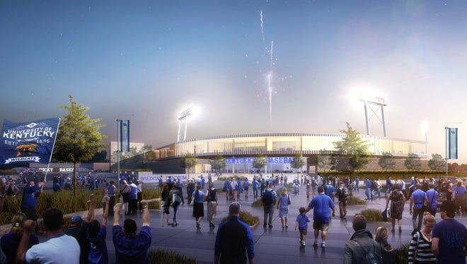 Rendering of the exterior of UK's new $49 million baseball stadium.