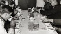 Men dining at the Salvation Army shelter in 1941