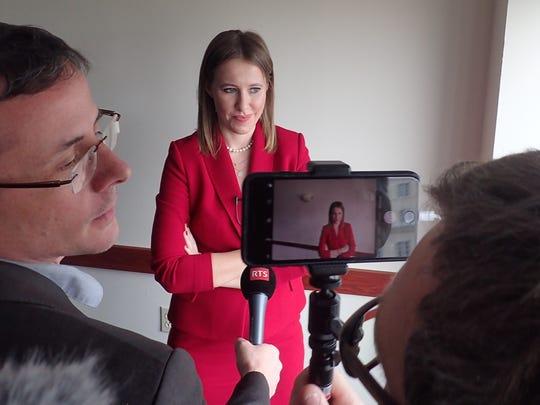Russian presidential candidate Ksenia Sobchak speaks