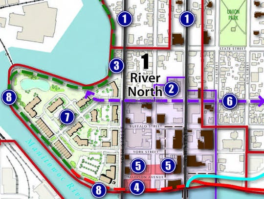 Map of the River North area of downtown Manitowoc