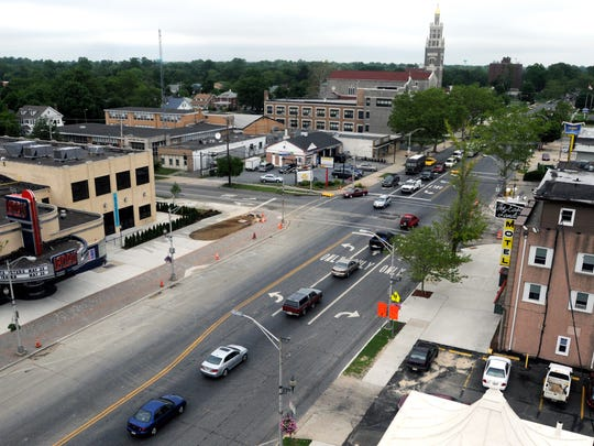 An aerial view of the four corners at East and Landis avenues in Vineland.