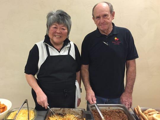 Carol Uchita, left, and Richard Rogers, partners of