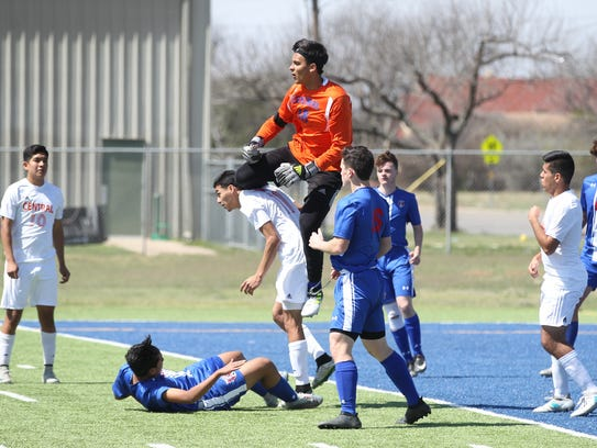 San Angelo Central High School goalkeeper Logan Miears (in orange) solidified his plans Wednesday to play for Eastern New Mexico next season.