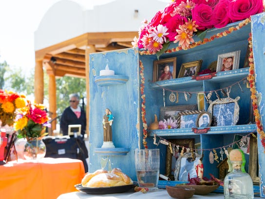 Day of the Dead altars are on display and colorfully