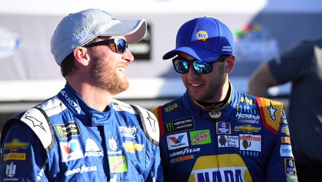 Teammatees Dale Earnhardt Jr., left, and Chase Elliott will start on the front row in the 59th running of the Daytona 500.