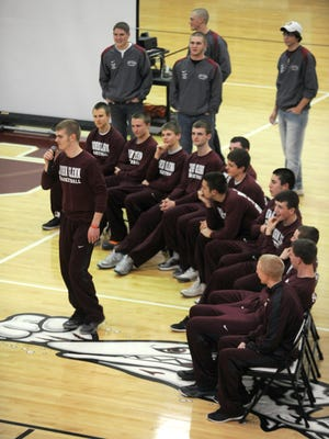 John Glenn student Clay Sturtz talks to the crowd at a pep rally for the basketball team last season. Sturtz passed away Tuesday evening after a car crash.