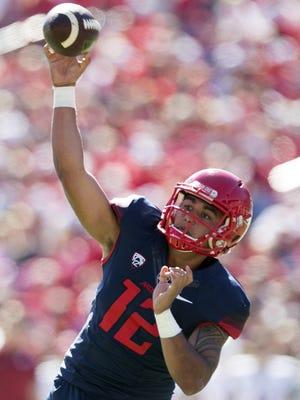 UA quarterback Anu Solomon passes during the first half against Washington State at Arizona Stadium in Tucson on Oct. 24.