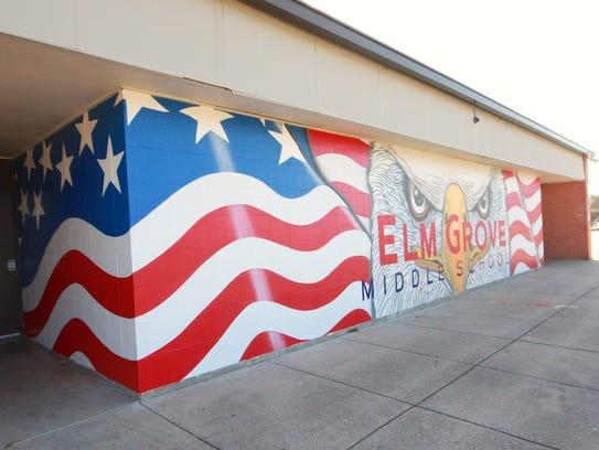 Chris Opp's mural at Elm Grove Middle School.