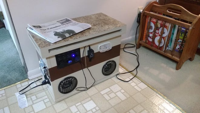 "James Ward, 74, of Worthington,  assembled a 400-watt emergency power station as his pandemic project, he said. A custom wooden box is built ""like a house,"" he said, ""with a battery room, a control room, a cord-storage room and a clearstory lid."" The station features a 35 amp-hour battery, a phone-charging panel, a Bluetooth speaker system, solar and grid recharge receptacles and multi-color party light display."