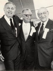 (Left to right) Alfred Taubman, Mayor Coleman Young and Max Fisher are all smiles at the ground breaking ceremony for the Riverfront development in June 1982.