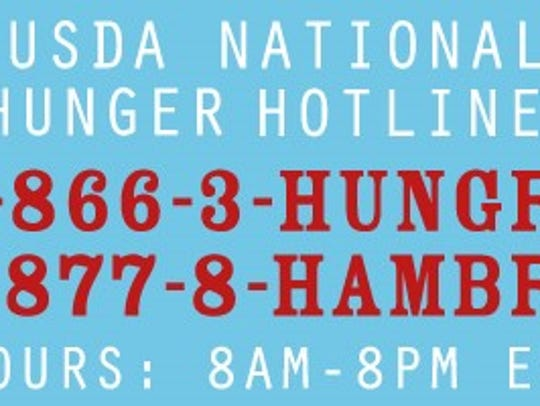 New USDA hunger hotline is available.
