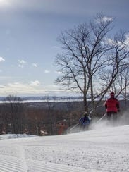 Sun, water and freshly groomed snow at Nub's Nob. This