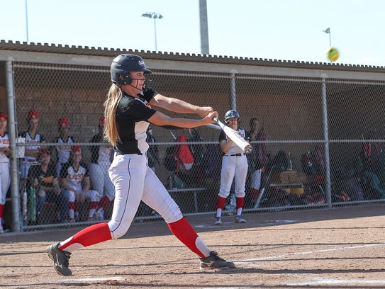Palm Desert's Sydney Sprinkle hits a two-run double