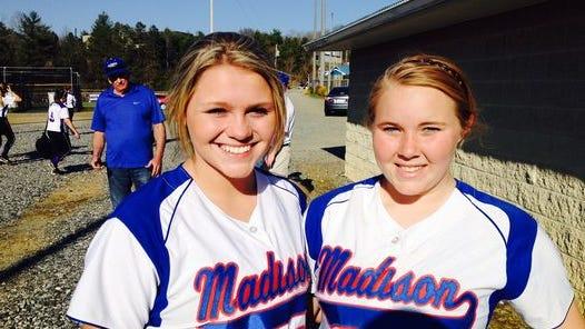 Madison's Hannah Anders, left, and Michaela Drewnoski.