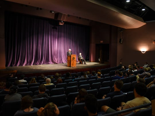 Pennsylvania Supreme Court Chief Justice Thomas Saylor  talks about the importance of the United States Constitution at Lebanon Valley College on Friday, Sept. 16, 2016.