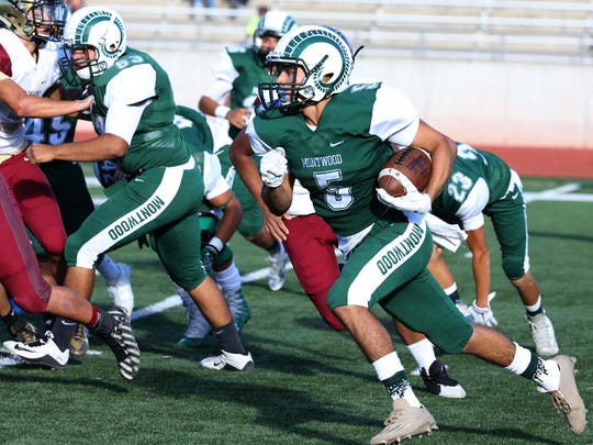 Montwood wide receiver Edward Garibay, 5, finds running