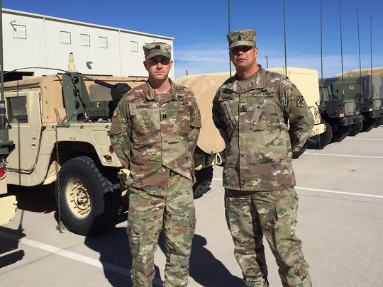 Capt. Doug Cannon, left, and 1st Sgt. Gary Quinto are the command team for Headquarters and Headquarters Battery with 11th Air Defense Artillery Brigade.