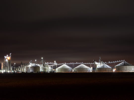 Mountaire Farms poultry processing plant near Millsboro is seen at night. The company was cited by state regulators in November for polluting the groundwater with effluent containing high levels of nitrates and fecal coliform, among other substances.
