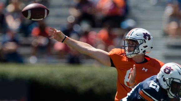 Auburn quarterback Jarrett Stidham (8) throws a pass  during Auburn's A-Day on Saturday, April 8, 2017, at Jordan Hare Stadium in Auburn, Ala.