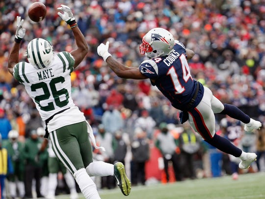 Jets safety Marcus Maye was injured on this play in the final game of his rookie season, against the Patriots at Gillette Stadium on December 31, 2017 in Foxboro, Massachusetts. (Photo by Jim Rogash/Getty Images)
