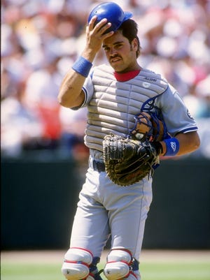 Catcher Mike Piazza of the Los Angeles Dodgers looks on during a game July 28 1993 against the San Francisco Giants at Candlestick Park.
