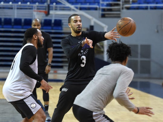 Reno Bighorns' Marcus Williams passes the ball during practice at Lawlor Events Center on Friday March 30, 2018. The Reno team is headed to NBA G-League playoffs.
