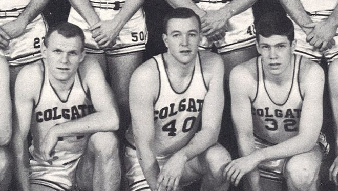 John Doyle (No. 40) was captain of the 1962 Colgate University men's basketball team, the last Red Raiders squad to defeat Syracuse University.