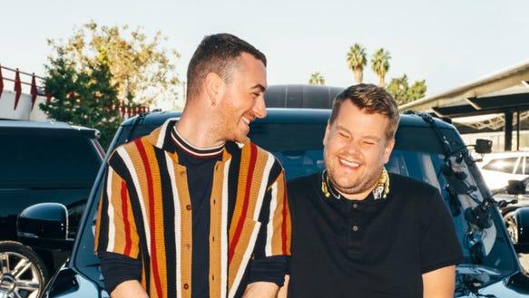 Sam Smith performs during 'Carpool Karaoke' with James