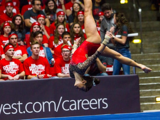 Southern Utah's gymnastics team competes against Stanford,