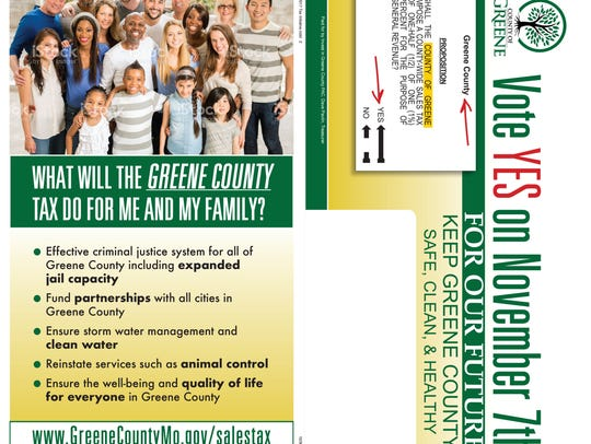 A design for a mailer paid for by the Invest in Greene