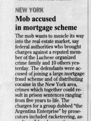 This clip from the March 29, 2001, edition of the Journal News describes the mortgage scheme case pursued by federal authorities.