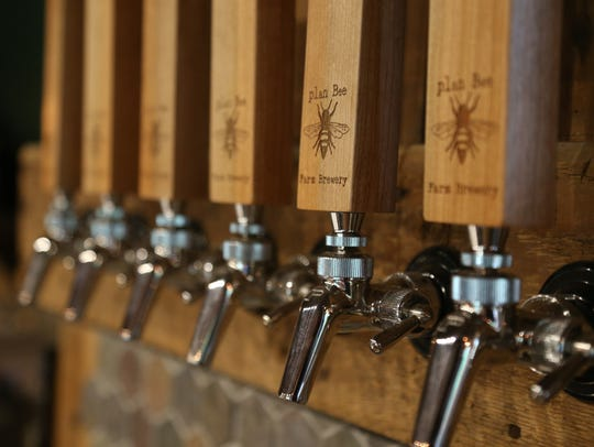 Tap handles at Plan Bee Farm Brewery in Poughkeepsie