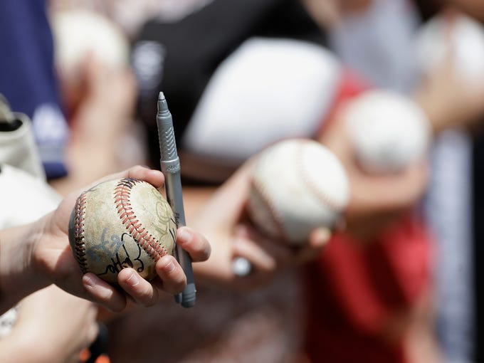 Fans wait for autographs before a spring training baseball