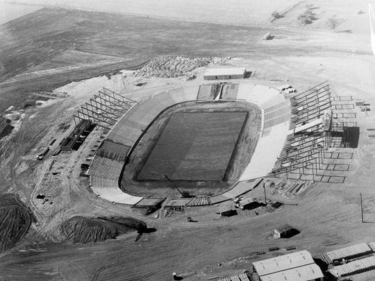 Construction was still going on at City Stadium (renamed Lambeau Field in 1965) in July of 1957.