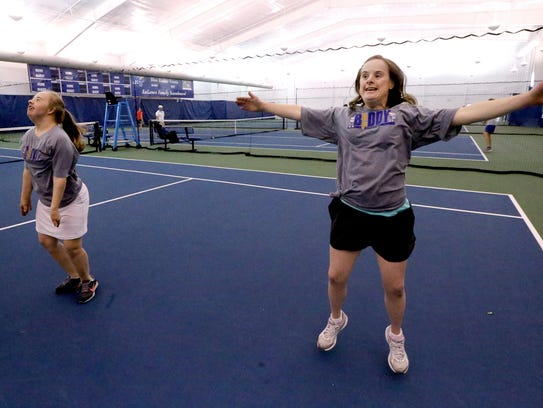 Meghan Maynard, left, and Heather Young show off their
