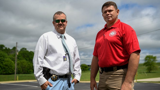 Detective Sgt. Marcus Albright, left, and Sheriff Bucky Rowland stand outside the Maury County Sheriff's Office in Columbia on April 27, 2017.