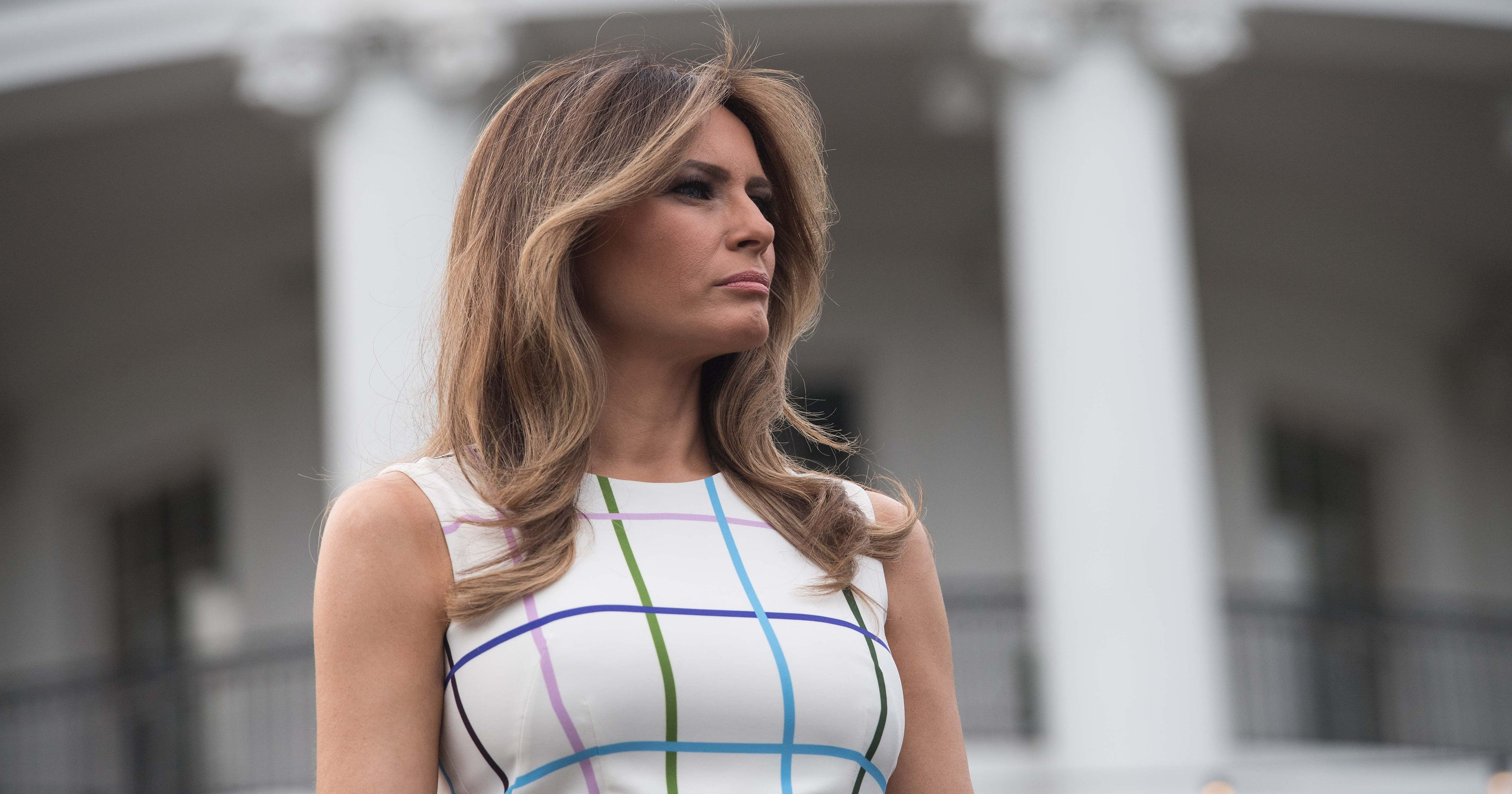 d9661ba251c Melania Trump sports Mary Katrantzou dress at Congressional Picnic