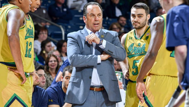 Dec 3, 2017; South Bend, IN, USA; Notre Dame Fighting Irish head coach Mike Brey talks to his players in the second half against the Saint Francis Terriers at the Purcell Pavilion. Mandatory Credit: Matt Cashore-USA TODAY Sports